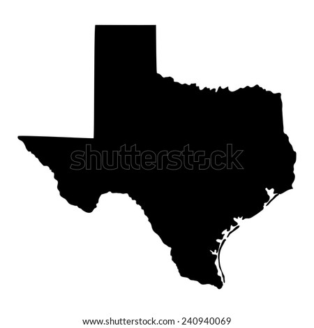 Isolated Black White Map Texas Stock Illustration - Map of us black