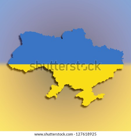 Map of the Ukraine filled with flag, isolated - stock photo