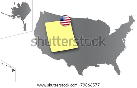 Map of the United States as a pinboard with a sticky note and a magnet in the national colors - stock photo
