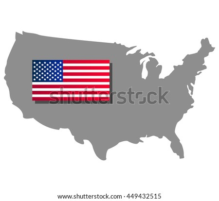 map of the united states with flag