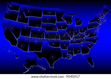Map of the United States with simplified, stylized state borders and capitals(vector version also available) - stock photo