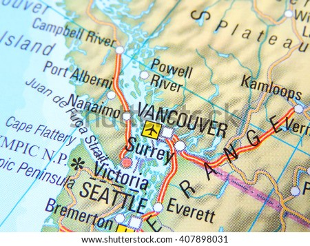 map of the usa and canada with focus on vancouver and seattle