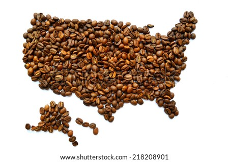 Map of the USA made from coffee beans - stock photo