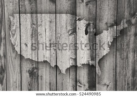 Map of the USA on weathered wood
