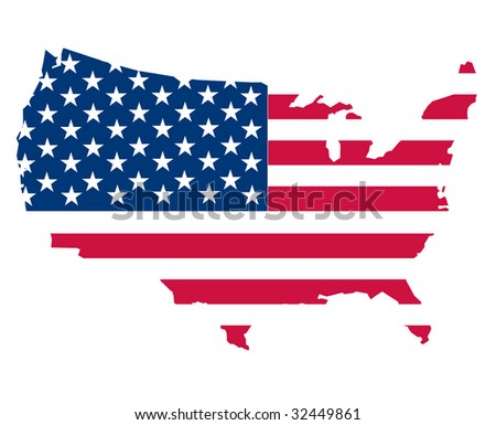 map of the USA on white - stock photo