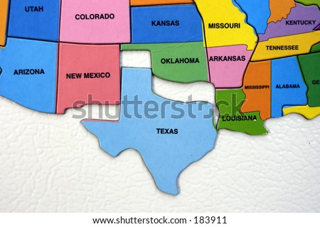 Map of the USA, south west - stock photo