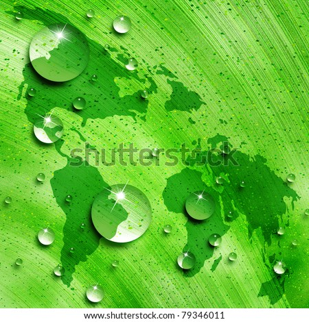 Map of the world against the background of water drops on green leaf, environmental concept - stock photo