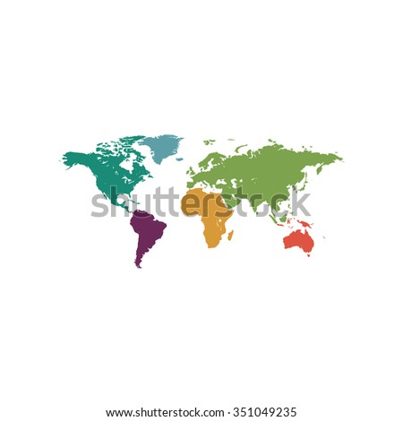 Map of the world. Colorful pictogram symbol on white background. Simple icon - stock photo