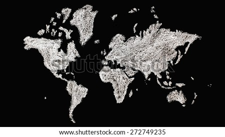 map of the world drawn with white chalk on black background - stock photo