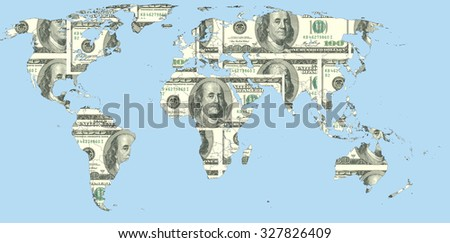 Map of the world from us dollars, illustrating the dependence of the global ecnomic from the national currency of the United States. - stock photo