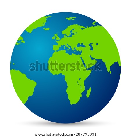 Map of the world globe with shadow on white background - stock photo