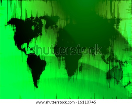 Map of the world illustration, glowing outline gradient colors
