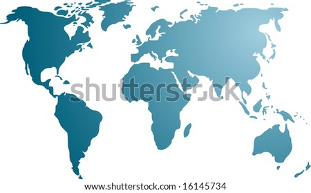 Map of the world illustration, simple outline gradient colors - stock photo