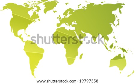 Map of the world illustration, simple outline gradient colors