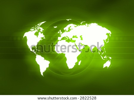 Map of the world in front of an abstract green background. - stock photo