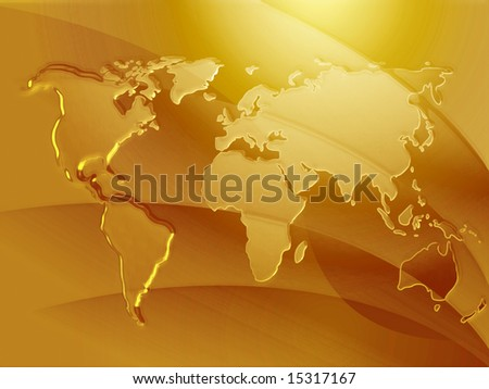 Map of the world in metallic embosed style - stock photo