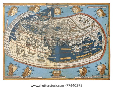 Map of the world (in those days known), after Claudius Ptolemy's work (Egyptian Roman, mathematician, astronomer, astrologer and geographer in 2nd century), engraved by Johannes Schnitzer, Ulm, 1492 - stock photo