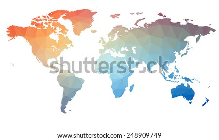Map of the world in triangles. Raster 1 Raster - stock photo