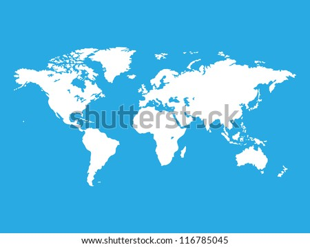 Map of the world isolated on blue,raster copy - stock photo