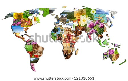 map of the world of the many photographs on a white background - stock photo
