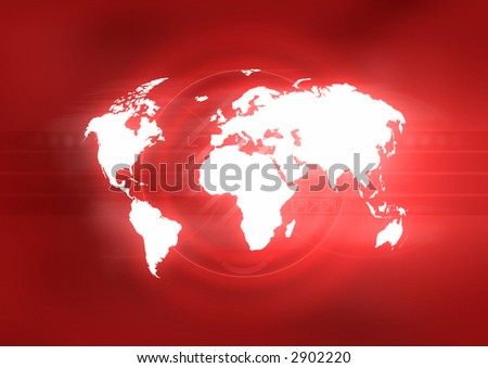 Map of the world on abstract red background. - stock photo