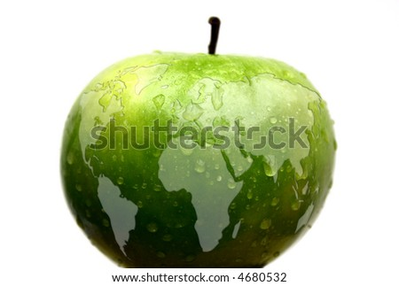 map of the world on an apple - stock photo