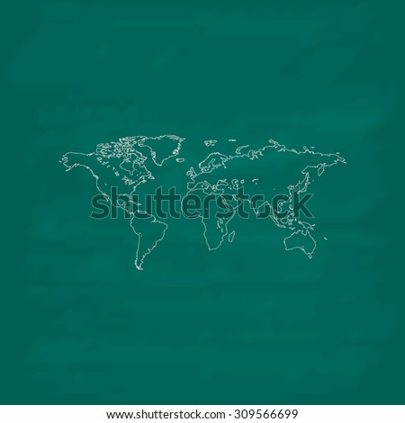 Map of the world. Outline icon. Imitation draw with white chalk on green chalkboard. Flat Pictogram and School board background. Illustration symbol - stock photo