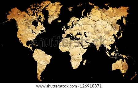 Map of the world with continents from dry deserted soil - stock photo