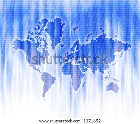 Map of the World with Cool Blue background - stock photo