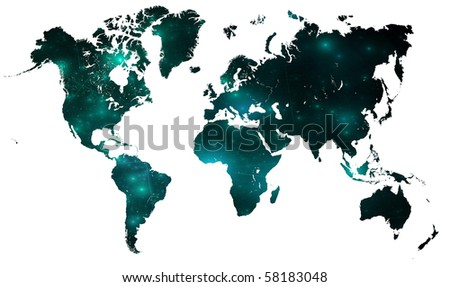 map of the world with lights and connecting lines for telecommunication or world issues. over white. - stock photo