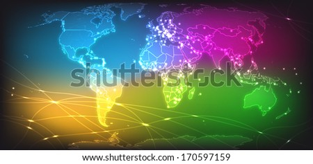 Map of the World with main cities with bright colors - stock photo
