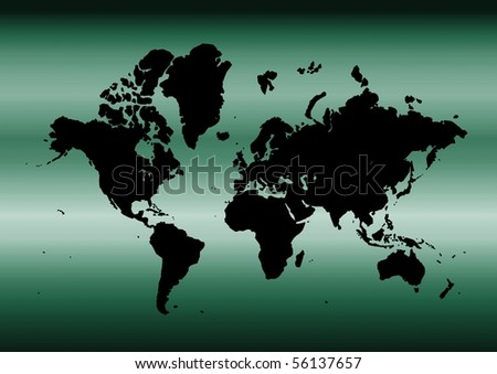 Map of the world with metallic cyan background - stock photo
