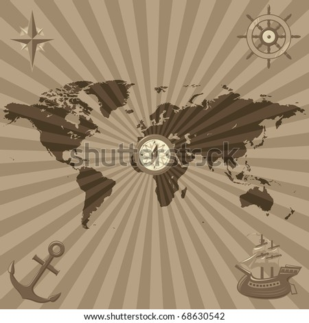 Map of the World with nautical icons. Raster version. Vector version is also available. - stock photo