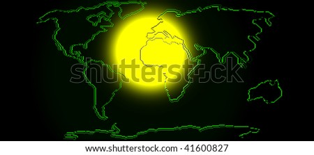 Map Of The World With Sunbeam. 3d Render - stock photo