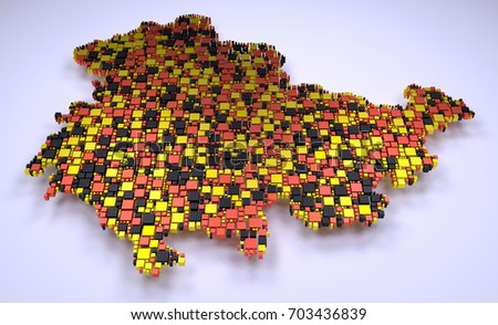 Map of Thuringia - Germany | 3D mosaic of little bricks