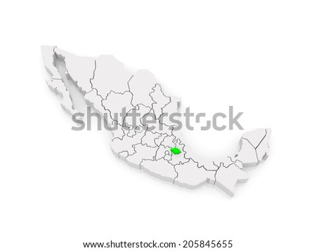 Map of Tlaxcala. Mexico. 3d - stock photo