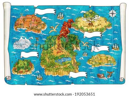 Map of Treasure Island - stock photo
