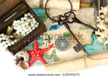 map of treasures background - stock photo