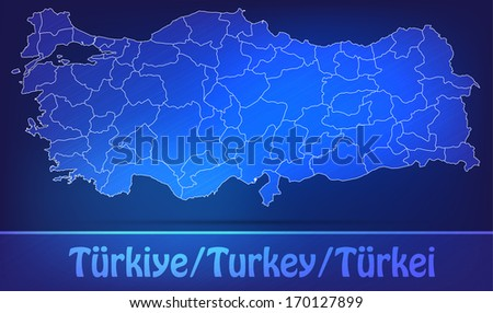 Map of Turkey with borders as scrible - stock photo