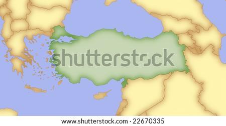 Map Turkey Borders Surrounding Countries Stock Illustration 22670335 ...