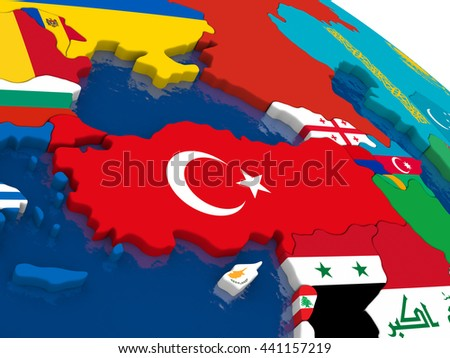 Map of Turkey with embedded flags on 3D political map. Accurate official colors of flags. 3D illustration - stock photo