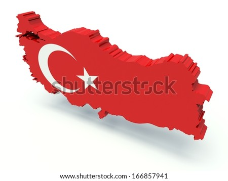 Map of Turkey with flag colors. 3d render illustration. - stock photo