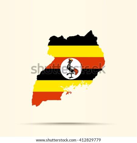 Map of Uganda in Uganda flag colors - stock photo