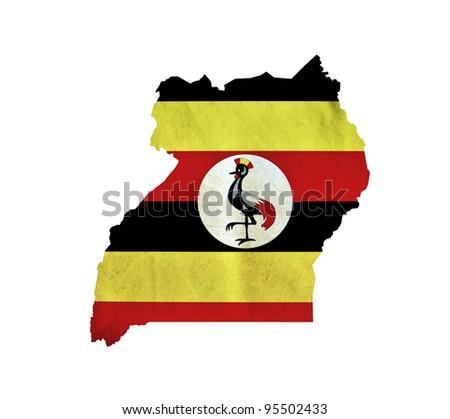 Map of Uganda isolated - stock photo