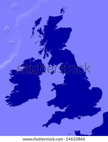 Map of UK and ireland with  borderline and sea relief - stock photo