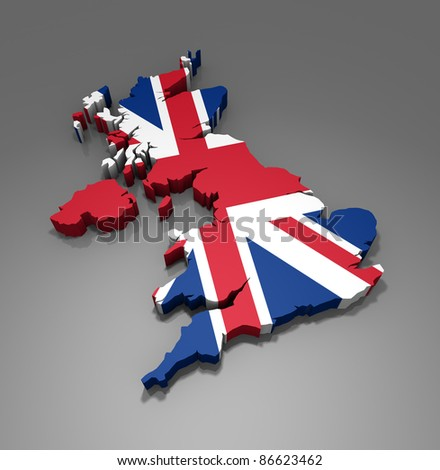 Map of UK - 3d render - stock photo