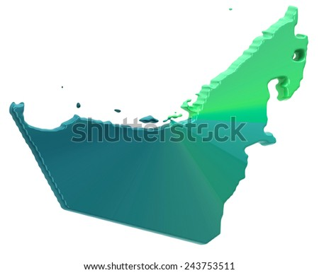 Map of United Arab Emirates - stock photo