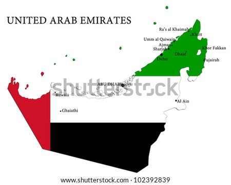 Map of United Arab Emirates country - stock photo
