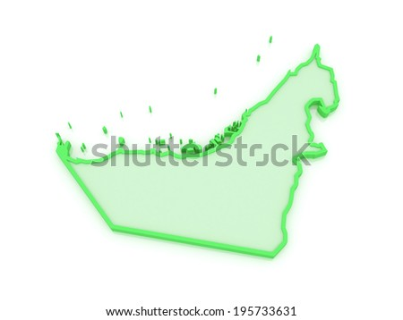 Map of United Arab Emirates (UAE). 3d
