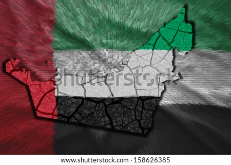 Map of United Arab Emirates(UAE) in National flag colors - stock photo